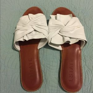 1. State White and Brown Flat Scrunch Sandals!